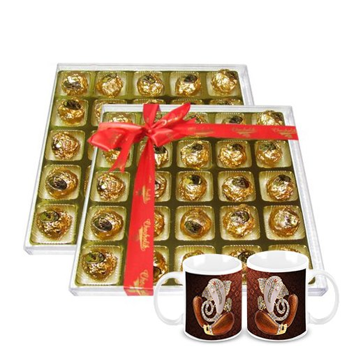 Chocholik's Perfect Combination Of Almond And Fruit & Nut Chocolate Truffles With Diwali Special Coffee Mugs -...