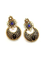Hyderabad Jewels Fashion Earring Round Shaped With Semi Precious Blue Stones Rounded By White Pearls-ATGOL1223...