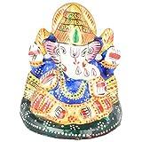 Rajgharana Handicrafts Multi Color Metal Meenakari Mukut Ganesha - (6 Cm X 6 Cm)