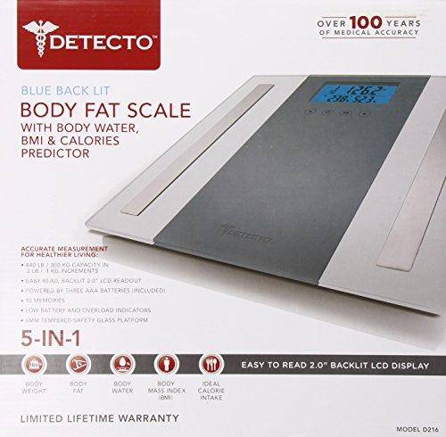 Detecto Glass Body Composition 5 in 1 Scale, White,