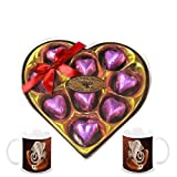 Chocholik's Classic Heart Shape Nicely Decorated Chocolates With Diwali Special Coffee Mugs - Gifts For Diwali