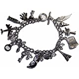 50 Shades Of Grey ( 12 Themed Charms) Silvertone Assorted Metal Charm Bracelet