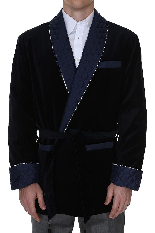 1920s Mens Coats & Jackets History Mens Smoking Jacket Bartholomew Navy $399.95 AT vintagedancer.com