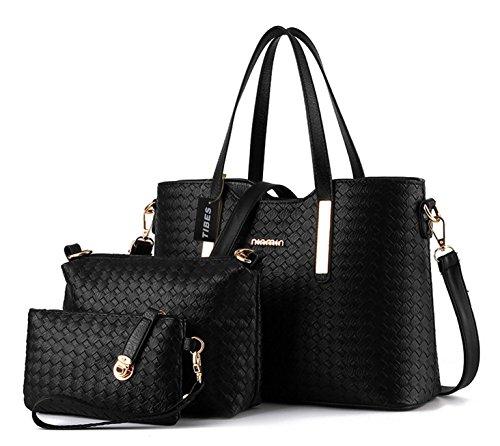 Tibes mode pu cuir sac à main + sac à bandoulière + sac 3pcs sac Noir