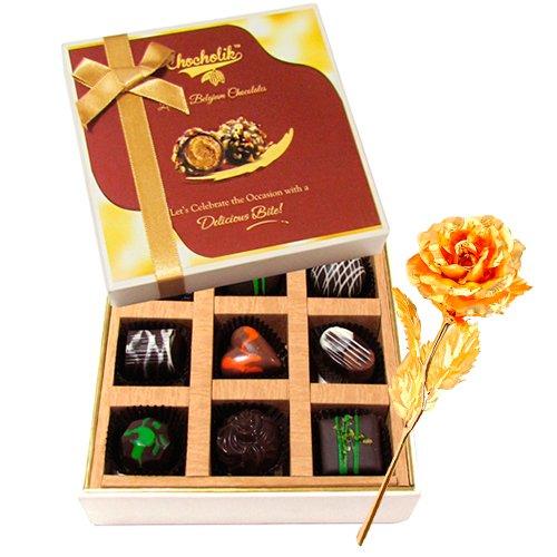 Delish Surprises Of Dark Chocolate Box With 24k Gold Plated Rose - Chocholik Belgium Chocolates