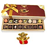 Chocholik Belgium Chocolates - 8 Milk And 8 White Attractive Chocolate Box With Small Ganesha Idol - Diwali Gifts