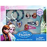 Disney Frozen Jewelry Accessories Box With Snap Clips, Beaded Bracelet & Rings