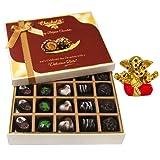 Chocholik Belgium Chocolates - Beautiful 20 Pc Mix Assorted Chocolate Box With Small Ganesha Idol - Diwali Gifts