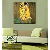"Tallenge Old Masters Collection - The Kiss By Gustav Klimt - Large Size Premium Quality Gallery Wrap Canvas Art Print For Home And Office Décor (24""x24"")"