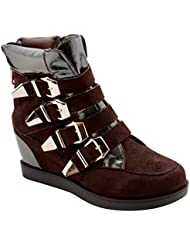 New Womens High Top Sneakers Leather Buckle Lace Up Heel Ankle Wedge Boots Shoes BOTCH112