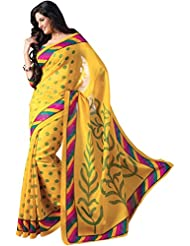 Palav Creation Women's Silk And Georgette Saree (Pc50, Yellow)