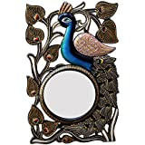 Divraya Wood Peacock Wall Mirror (30.48 Cm X 4 Cm X 45.72 Cm, DA134)
