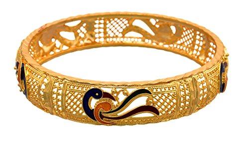 35e239b697 JFL - Traditional Ethnic Fusion One Gram Gold Plated Meenakari Peacock  Designer Bangle For Women &