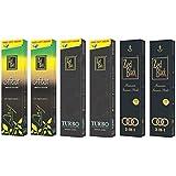 Zed Black Premium Incense Sticks Combo Of 3 In1 Large (2 Packs) , Arij Large (2 Packs) , Turbo Large (2 Packs)