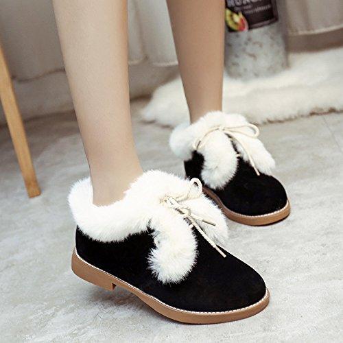 Die neuen Schneeschuhe plus Samt warme Schneeschuhe weiblichen britischen Stil Spitze Schuhe Frauen behaarte