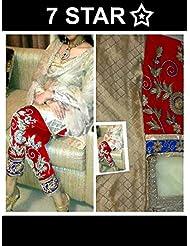 Mastani Kreation Beige Jacquard Embroidered Unstitched Dress Material