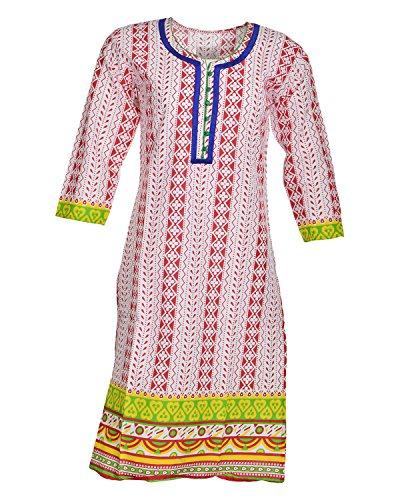 Global Women's Cotton Straight Kurta (GW61Whitep40015, Multi, 40)