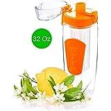 Fruit Infuser Water Bottle For Detox Water With Leak Proof Lid - 32Oz (Orange) - By EBOUR