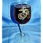 Custom Etched USMC Emblem on 13 Oz. White Wine Glass Set of 4