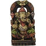 Divya Mantra Wall Decor Hand Carved Single Piece Wooden Ganeshji