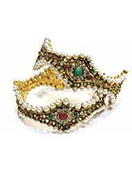 Shingar Jewellery Antique Gold Kundan Polki Look Screw Open Kada Bangles Set In 2.6 Size For Women (5976-m-2.6...