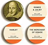 William Shakespeare Button Pin Set (Size is 1inch diameter) Romeo and Juliet, Hamlet, Merchant of Venice