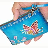 Hand Made Leather Change/coin Purse, Rectangle Shape, Butterfly Embossed, a Mini Wristlet Bag, Collectible