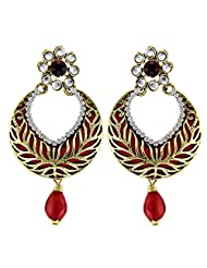 Tradisyon Bollywood Celebrity Inspired Hot Chic Floral Maroon Chandelier Earring By Kaizer