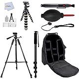 Accessory Kit For Nikon D40 D40x D50 D60 D70 D70s D80 D90 D3000 D3100 D3300 D5000 D5100 D5200 D5300 D7000 D7100 D600 D610 D800 D800E DF D4 D4S DSLR Cameras Includes: 72 Tripod + 72 Monopod + Flexible Gripster Tripod + Starter Kit & More