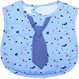 Blue Dotted Baby Feeding Bib With A Blue Necktie From Frenchie Mini Couture