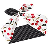 Sea Team Retro Style Bows Red Cherry With Black Polka Dots Double Wide Headwrap Cotton Headband