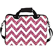 """Snoogg Chevron Pinks 12"""" 12.5"""" 12.6"""" Inch Laptop Notebook SlipCase With Shoulder Strap Handle Sleeve Soft Case..."""