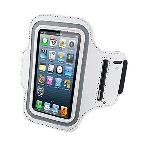iphone スマホ対応 スポーツ アームバンド ホワイト ランニング ジョギング イヤホン装着 iPhone5/4/4S/3G/3GS/iPod touch (ホワイト)