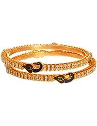 JFL - Dazzling Diamond Peacock One Gram Gold Plated Designer Bangles For Girl And Women.