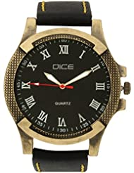 """Dice """"Brasso-0703"""" Casual Round Shaped Wrist Watch For Men. Fitted With Stylish Brass Polish Case, Beautiful Black..."""