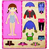 CraftDev Wooden Toys Wooden Dress-up Girl Puzzle Shape Board Game - Learning & Educational Toys For Kids And Children...