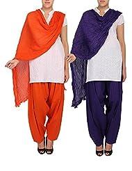 Womens Cottage Combo Pack Of 2 Pure Cotton Semi Patiala & Cotton Dupatta With Lace Set - B018PBIC7I