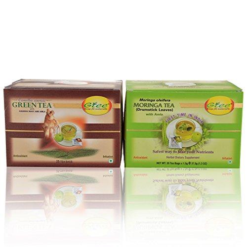 GTEE Green Tea Bags - Ginseng & Moringa Tea Bags (25 Tea Bags X 2PACKS)