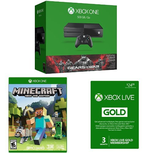 Xbox One 500GB Console - Gears of War: Ultimate Edition Bundle with Minecraft and 3 Month Xbox Live Card