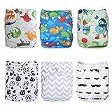 Alva Baby 6pcs Pack Pocket Washable Adjustable Cloth Diaper With 2 Inserts Each (Boy Color) 6DM08
