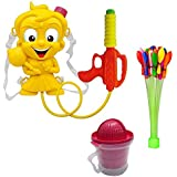 NoorStore Holi Special Watergun Pichkari /One Chota Bheem Water Gun With Back Belt And Water Tank & Water Balloons Set With Straw & 2 In 1 Juicer ( Combo)