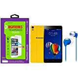 Digifreaks HD Finish Crystal Clear Tempered Glass With Multicolor Earphone For Lenovo K3 Note Music Edition
