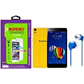 Digifreaks Tempered Glass With Multicolor Earphone For Lenovo K3 Note Music Edition