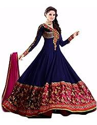 Shree Ashapura Creation Women`s Georgette Embroidered Semi-stitched Salwar Suit Dupatta Material(Royal Blue Anarkali)