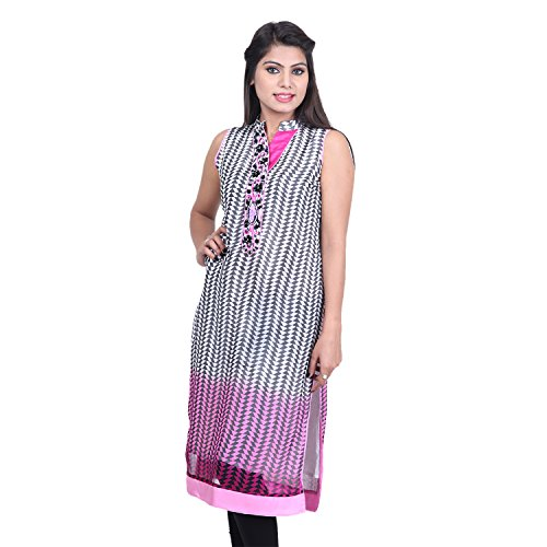 India Colors Geometrical Printed Georget With A Tie And Die Effect - B00PS7I6Z6