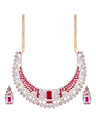 TKD Jewellers Pink Color Traditional Wear Gold Plated CZ Stones Chain For Women (TKDJ042)