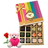 Nicely Decorated Chocolates Gift Hamper With Teddy And Rose - Chocholik Belgium Chocolates