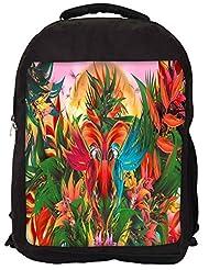 Snoogg Digital Bird Graphic Backpack Rucksack School Travel Unisex Casual Canvas Bag Bookbag Satchel