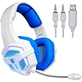 SADES A7 Gaming Headset 3.5mm USB Professional Stereo Headphone Blue Led Lighting With Microphone For Laptop PC...