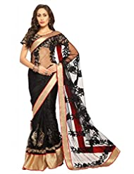 Designersareez Women Net Embroidered Black Saree With Unstitched Blouse(1455)